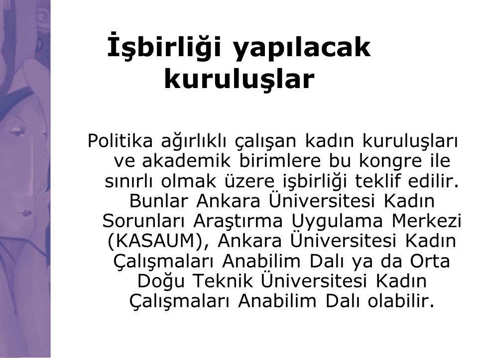 İşbirliği yapılacak kuruluşlar Politika ağırlıklı çalışan kadın kuruluşları ve akademik birimlere bu kongre ile sınırlı olmak üzere işbirliği teklif e