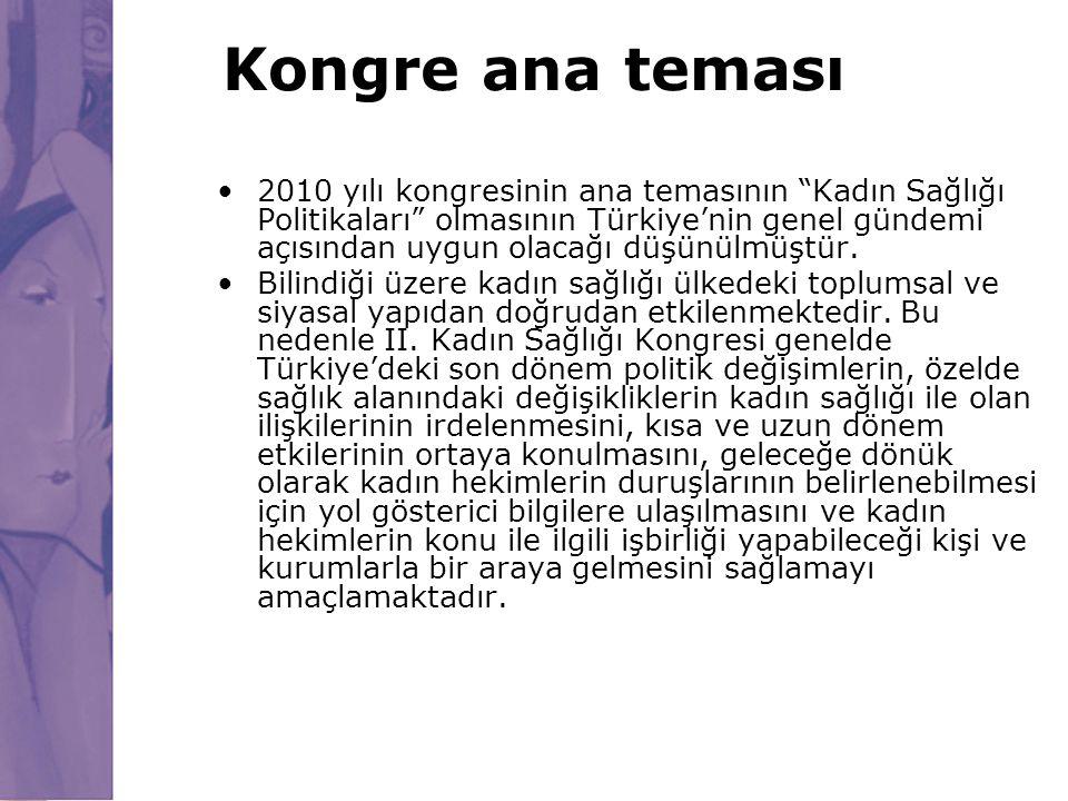 """Kongre ana teması 2010 yılı kongresinin ana temasının """"Kadın Sağlığı Politikaları"""" olmasının Türkiye'nin genel gündemi açısından uygun olacağı düşünül"""