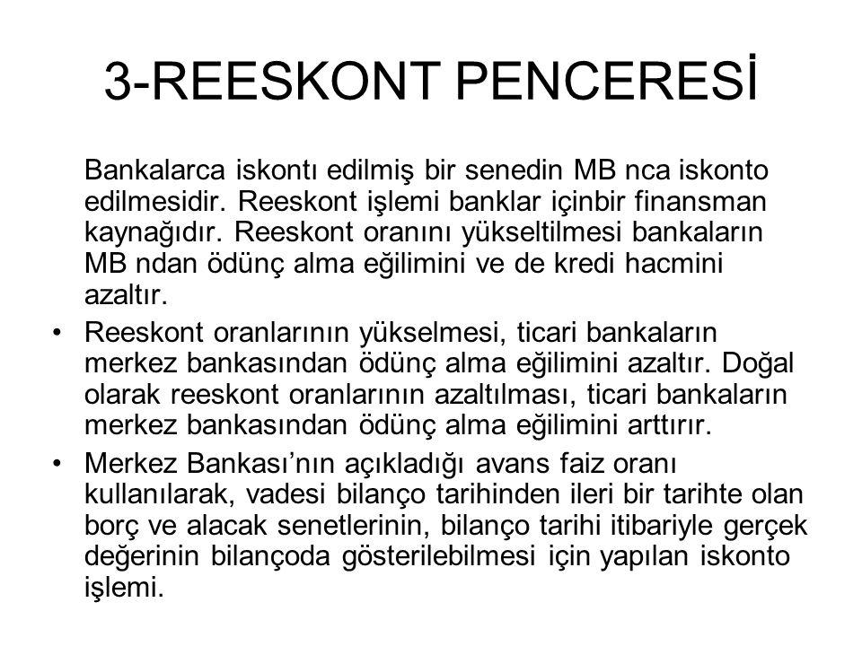 3-REESKONT PENCERESİ Bankalarca iskontı edilmiş bir senedin MB nca iskonto edilmesidir.