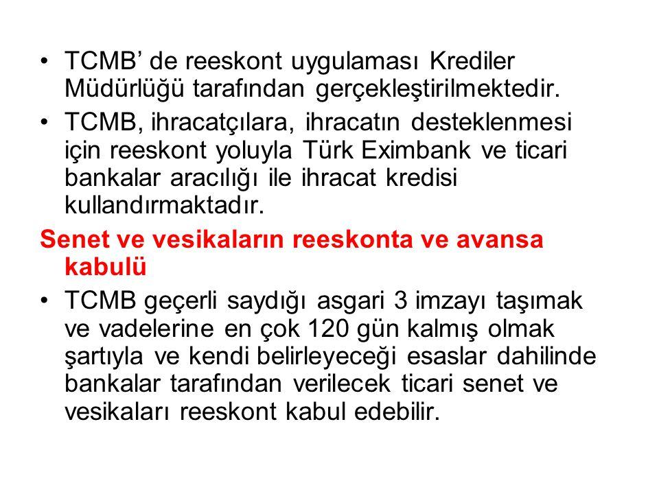 TCMB' de reeskont uygulaması Krediler Müdürlüğü tarafından gerçekleştirilmektedir.