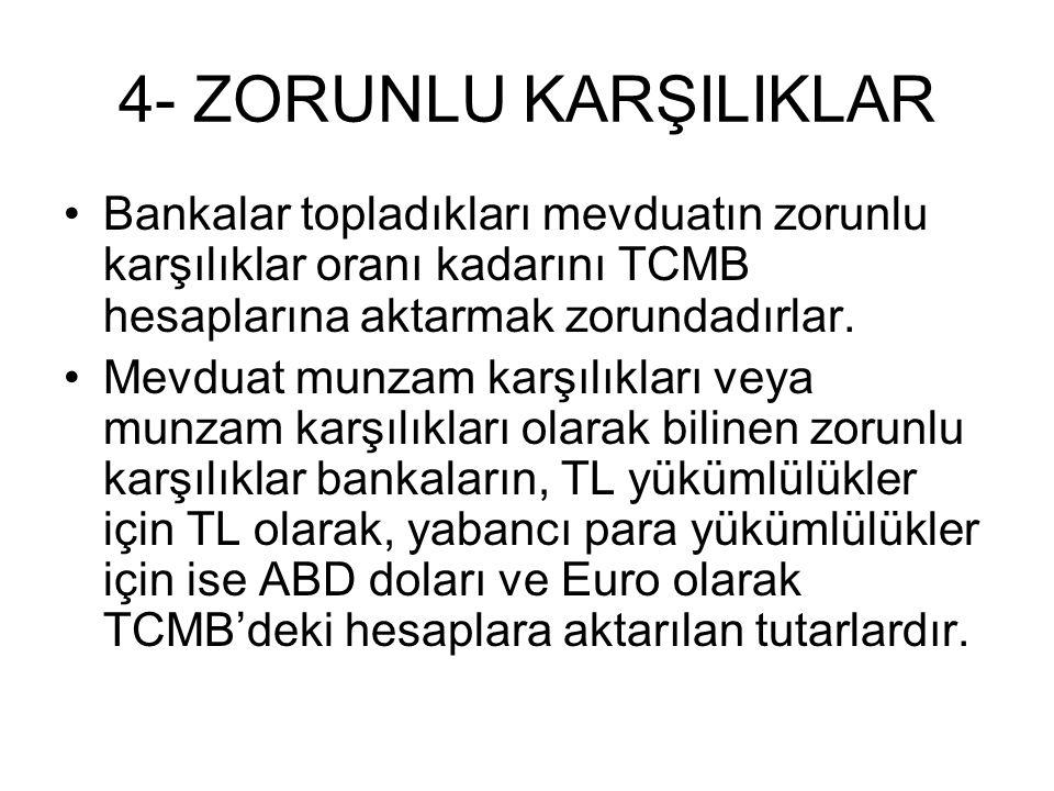 4- ZORUNLU KARŞILIKLAR Bankalar topladıkları mevduatın zorunlu karşılıklar oranı kadarını TCMB hesaplarına aktarmak zorundadırlar.
