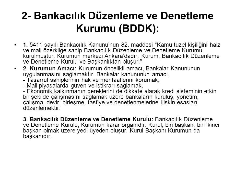 2- Bankacılık Düzenleme ve Denetleme Kurumu (BDDK): 1.