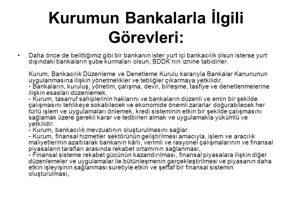 Kurumun Bankalarla İlgili Görevleri: Daha önce de belittiğimiz gibi bir bankanın ister yurt içi bankacılık olsun isterse yurt dışındaki bankaların şube kurmaları olsun, BDDK'nın iznine tabidirler.
