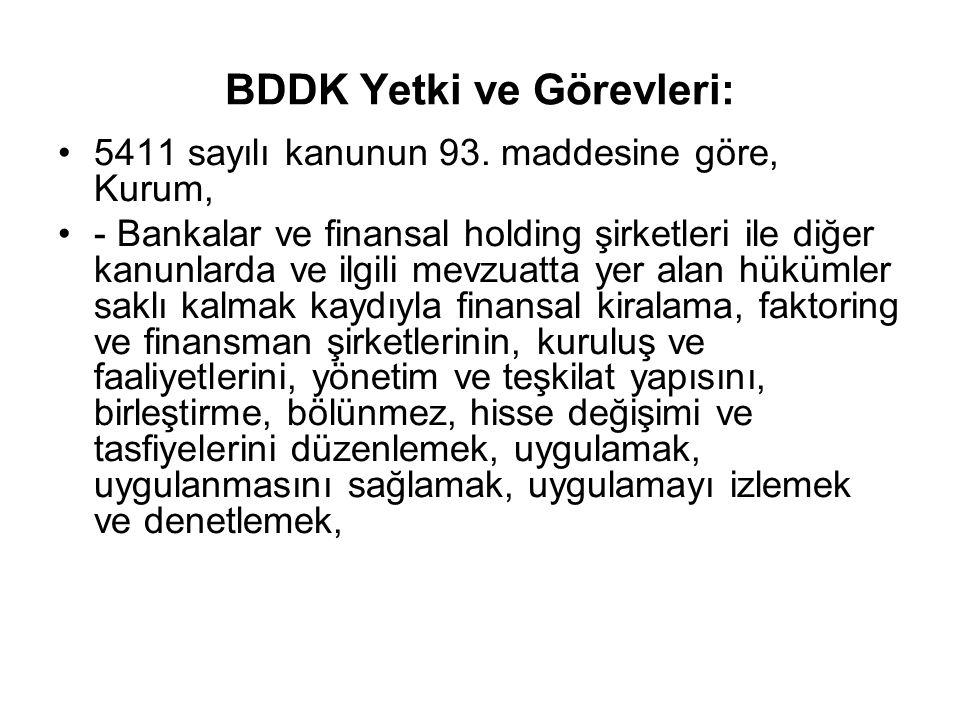 BDDK Yetki ve Görevleri: 5411 sayılı kanunun 93.