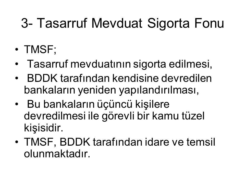 3- Tasarruf Mevduat Sigorta Fonu TMSF; Tasarruf mevduatının sigorta edilmesi, BDDK tarafından kendisine devredilen bankaların yeniden yapılandırılması, Bu bankaların üçüncü kişilere devredilmesi ile görevli bir kamu tüzel kişisidir.