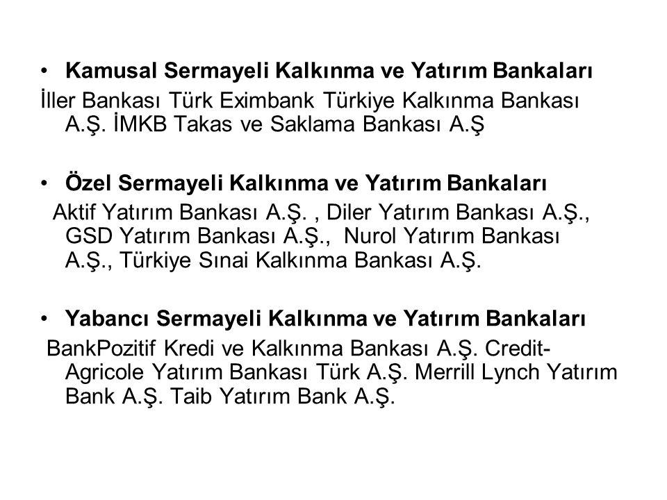 Kamusal Sermayeli Kalkınma ve Yatırım Bankaları İller Bankası Türk Eximbank Türkiye Kalkınma Bankası A.Ş.