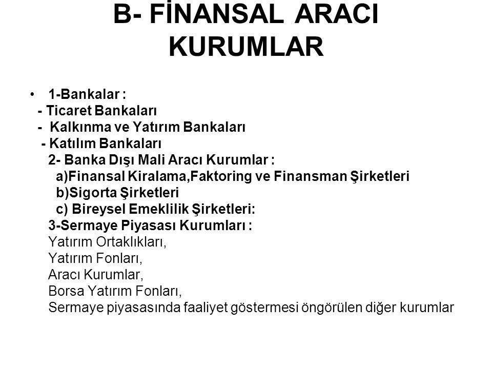 B- FİNANSAL ARACI KURUMLAR 1-Bankalar : - Ticaret Bankaları - Kalkınma ve Yatırım Bankaları - Katılım Bankaları 2- Banka Dışı Mali Aracı Kurumlar : a)Finansal Kiralama,Faktoring ve Finansman Şirketleri b)Sigorta Şirketleri c) Bireysel Emeklilik Şirketleri: 3-Sermaye Piyasası Kurumları : Yatırım Ortaklıkları, Yatırım Fonları, Aracı Kurumlar, Borsa Yatırım Fonları, Sermaye piyasasında faaliyet göstermesi öngörülen diğer kurumlar
