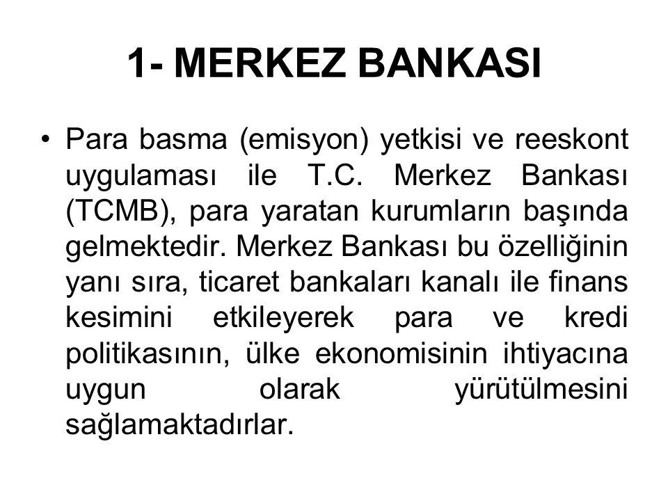 1- MERKEZ BANKASI Para basma (emisyon) yetkisi ve reeskont uygulaması ile T.C.