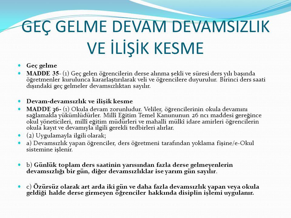 ÖĞRENCİ DAVRANIŞLARI Öğrencilerin uyacakları kurallar ve öğrencilerden beklenen davranışlar MADDE 157- (1) Öğrencilerin; Atatürk inkılâp ve ilkeleriyle, Atatürk milliyetçiliğine bağlı, Türk milletinin millî, ahlâkî, manevi ve kültürel değerlerini benimseyen, koruyan ve geliştiren; ailesini, vatanını, milletini seven ve yücelten, insan haklarına saygılı, Cumhuriyetin demokratik, laik, sosyal ve hukuk devleti olması ilkelerine karşı görev ve sorumluluklarını bilen ve bunları davranış hâline getiren; beden, zihin, ahlâk, ruh ve duygu bakımından dengeli ve sağlıklı, gelişmiş bir kişiliğe, hür ve bilimsel düşünme gücüne, geniş bir dünya görüşüne sahip topluma karşı sorumluluk duyan, yapıcı, yaratıcı ve verimli kişiler olarak yetişmeleri için okul yönetimi, öğretmenler, rehberlik servisi, okul-aile birliği ve ilgili diğer paydaşlarla işbirliği yapması istenir.
