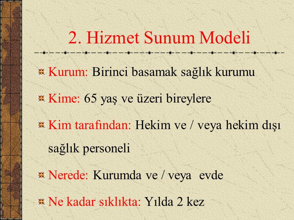 2. Hizmet Sunum Modeli Kurum: Birinci basamak sağlık kurumu Kime: 65 yaş ve üzeri bireylere Kim tarafından: Hekim ve / veya hekim dışı sağlık personel