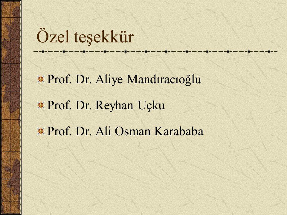 Özel teşekkür Prof. Dr. Aliye Mandıracıoğlu Prof. Dr. Reyhan Uçku Prof. Dr. Ali Osman Karababa