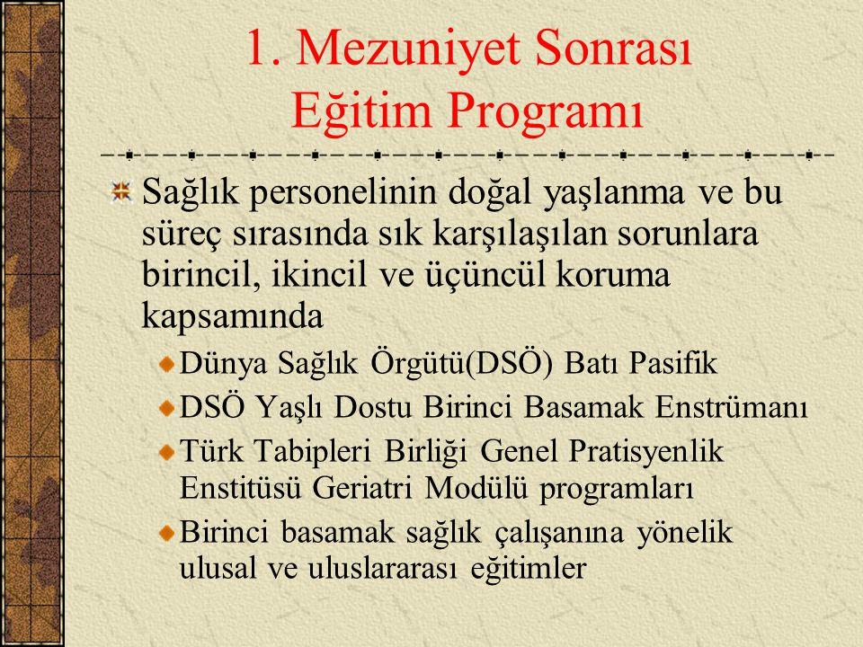 1. Mezuniyet Sonrası Eğitim Programı Sağlık personelinin doğal yaşlanma ve bu süreç sırasında sık karşılaşılan sorunlara birincil, ikincil ve üçüncül