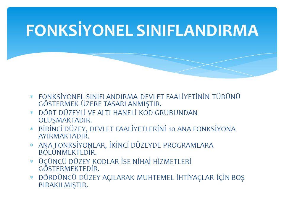 GELİR SINIFLANDIRMASI(İKİNCİ DÜZEY)