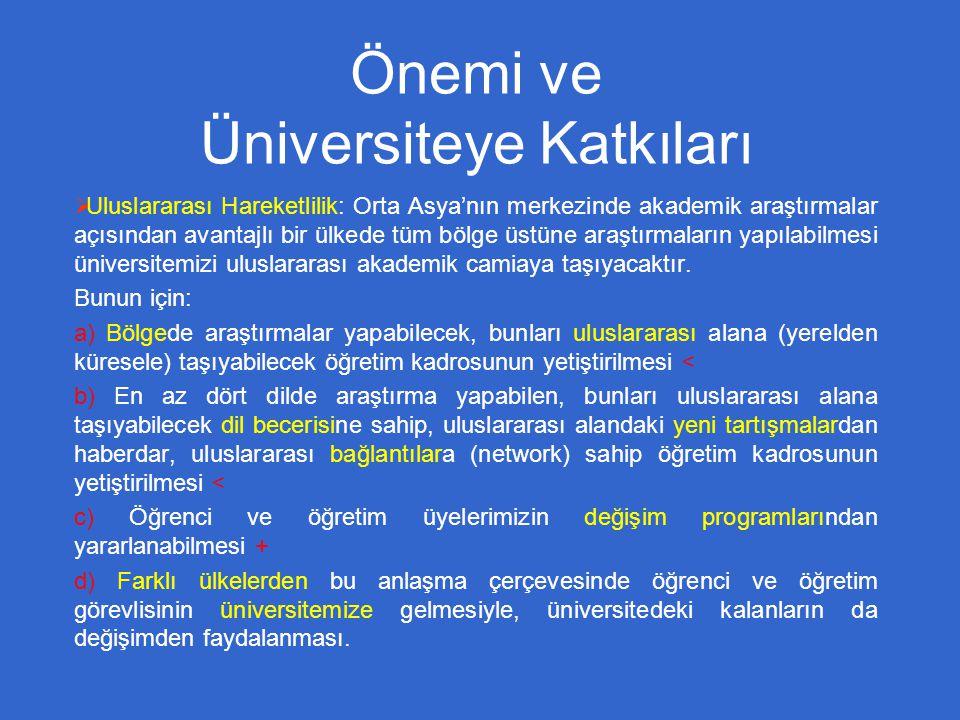 Önemi ve Üniversiteye Katkıları  Uluslararası Hareketlilik: Orta Asya'nın merkezinde akademik araştırmalar açısından avantajlı bir ülkede tüm bölge üstüne araştırmaların yapılabilmesi üniversitemizi uluslararası akademik camiaya taşıyacaktır.