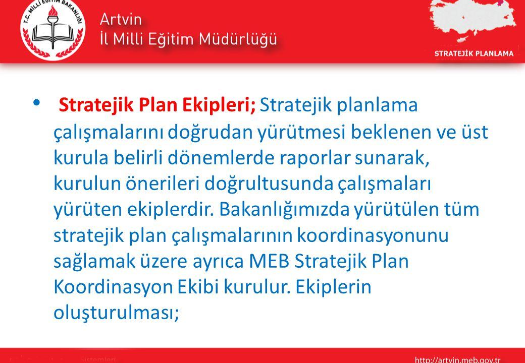 Stratejik Plan Ekipleri; Stratejik planlama çalışmalarını doğrudan yürütmesi beklenen ve üst kurula belirli dönemlerde raporlar sunarak, kurulun önerileri doğrultusunda çalışmaları yürüten ekiplerdir.