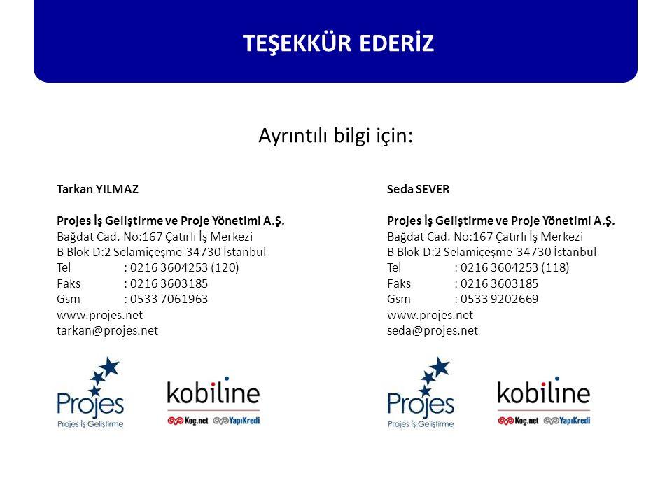 Tarkan YILMAZ Projes İş Geliştirme ve Proje Yönetimi A.Ş. Bağdat Cad. No:167 Çatırlı İş Merkezi B Blok D:2 Selamiçeşme 34730 İstanbul Tel : 0216 36042