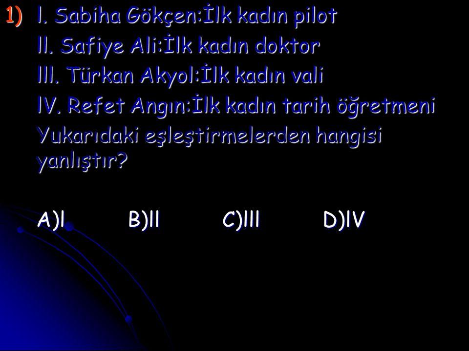 1)l. Sabiha Gökçen:İlk kadın pilot ll. Safiye Ali:İlk kadın doktor lll. Türkan Akyol:İlk kadın vali lV. Refet Angın:İlk kadın tarih öğretmeni Yukarıda