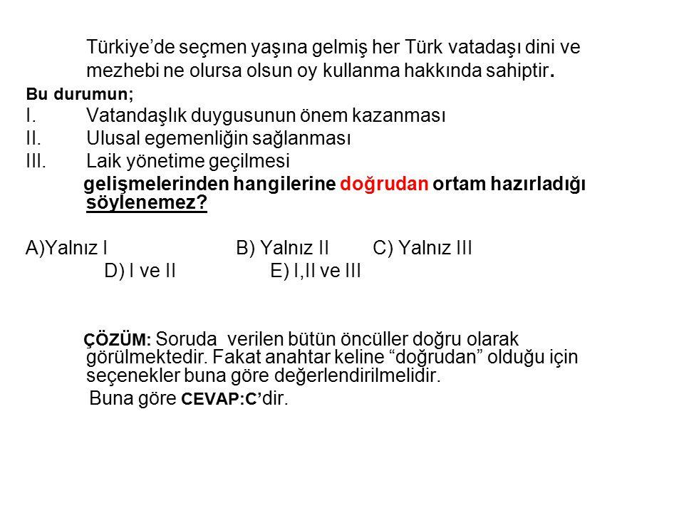 Türkiye'de seçmen yaşına gelmiş her Türk vatadaşı dini ve mezhebi ne olursa olsun oy kullanma hakkında sahiptir. Bu durumun; I.Vatandaşlık duygusunun