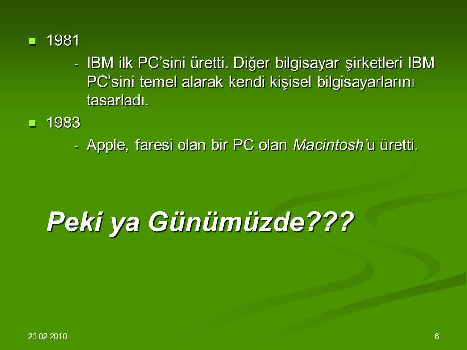 23.02.2010 6 1981 1981 - IBM ilk PC'sini üretti.