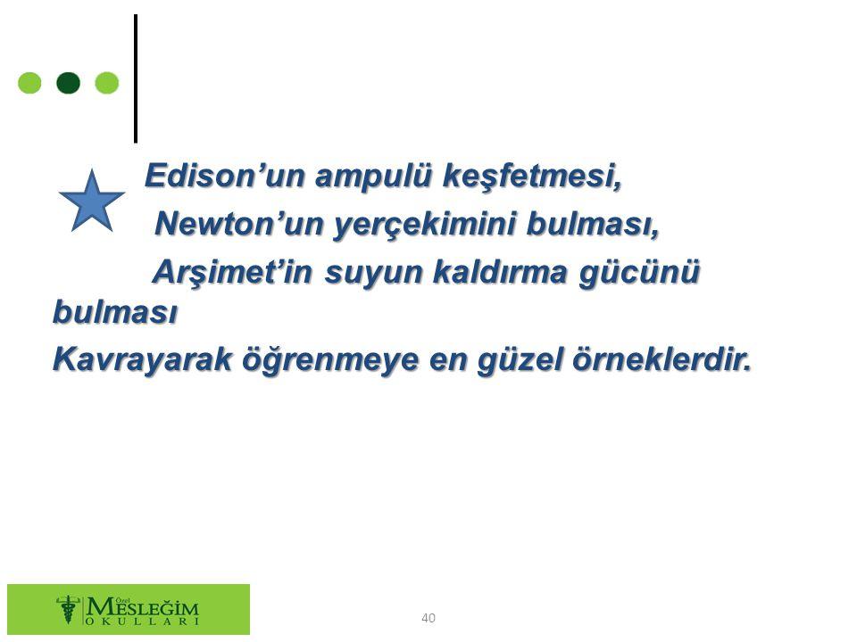 Edison'un ampulü keşfetmesi, Edison'un ampulü keşfetmesi, Newton'un yerçekimini bulması, Newton'un yerçekimini bulması, Arşimet'in suyun kaldırma gücü