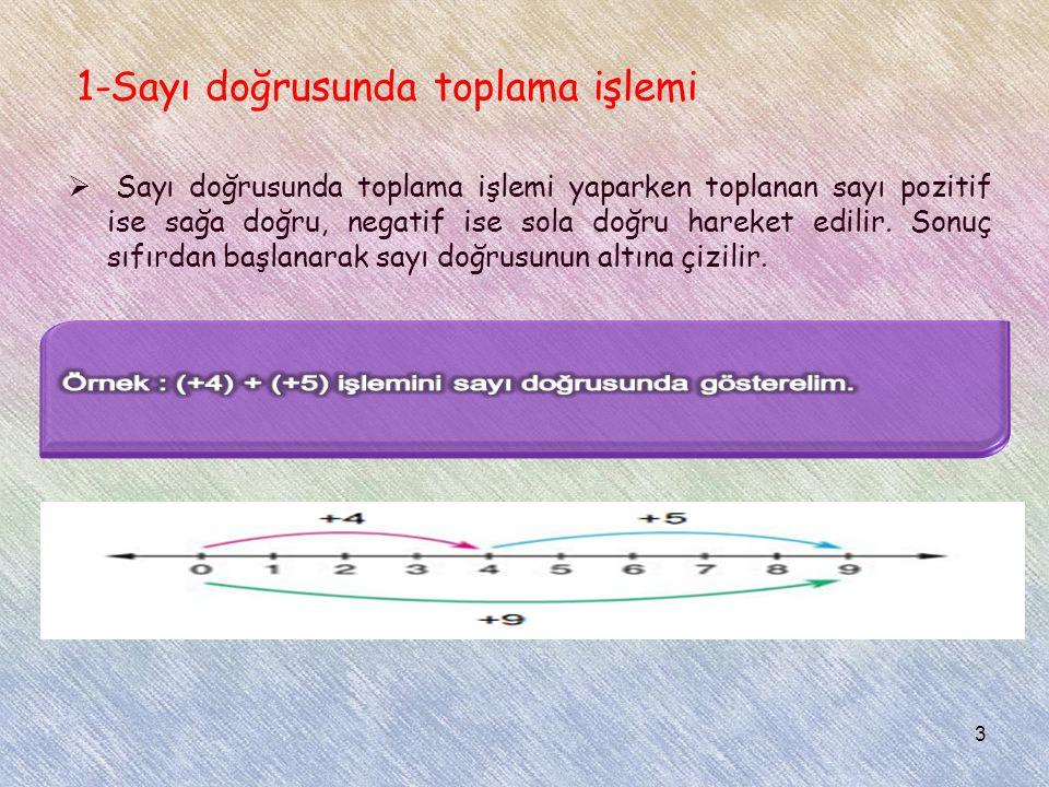 1-Sayı doğrusunda toplama işlemi  Sayı doğrusunda toplama işlemi yaparken toplanan sayı pozitif ise sağa doğru, negatif ise sola doğru hareket edilir