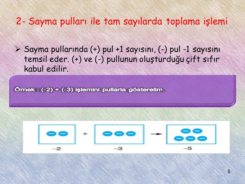 2- Sayma pulları ile tam sayılarda toplama işlemi  Sayma pullarında (+) pul +1 sayısını, (-) pul -1 sayısını temsil eder. (+) ve (-) pullunun oluştur
