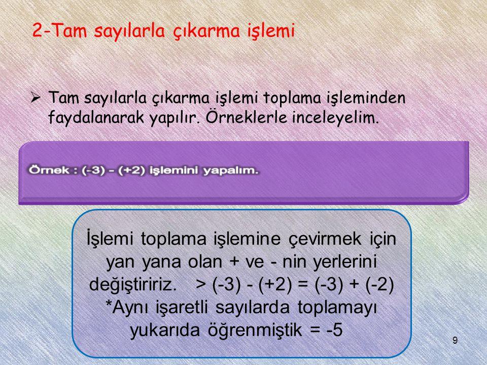 2-Tam sayılarla çıkarma işlemi  Tam sayılarla çıkarma işlemi toplama işleminden faydalanarak yapılır. Örneklerle inceleyelim. İşlemi toplama işlemine