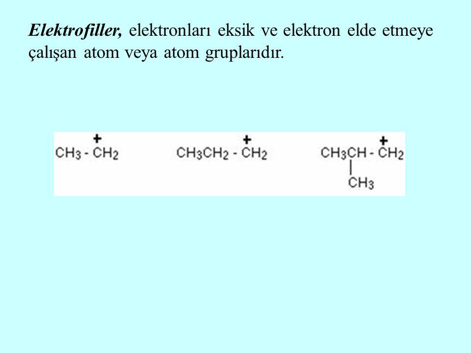 Elektrofiller, elektronları eksik ve elektron elde etmeye çalışan atom veya atom gruplarıdır.