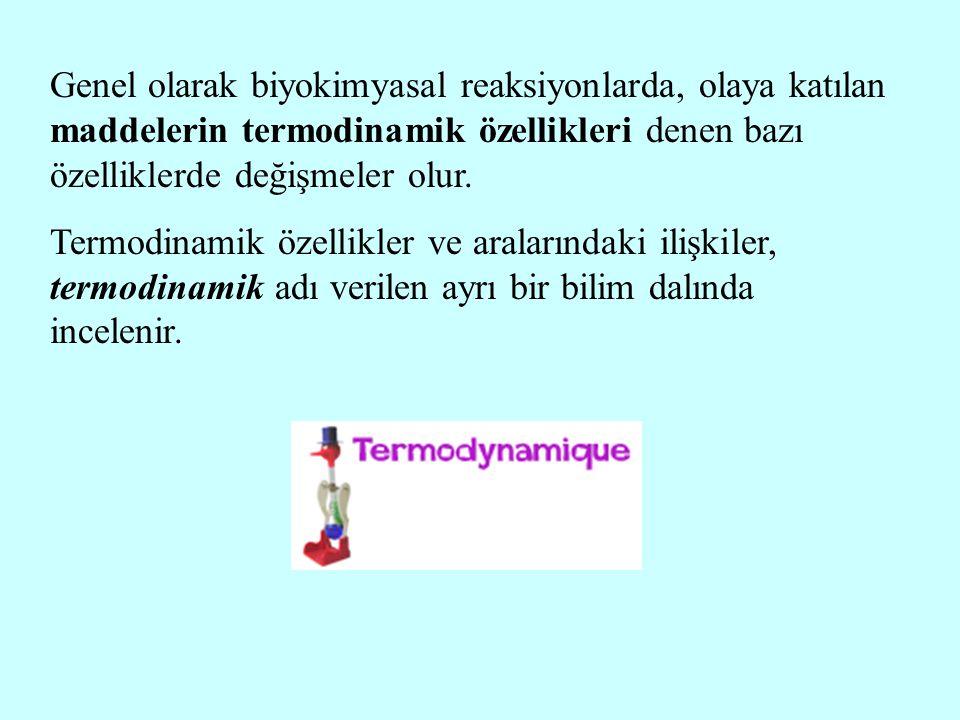 Genel olarak biyokimyasal reaksiyonlarda, olaya katılan maddelerin termodinamik özellikleri denen bazı özelliklerde değişmeler olur. Termodinamik özel