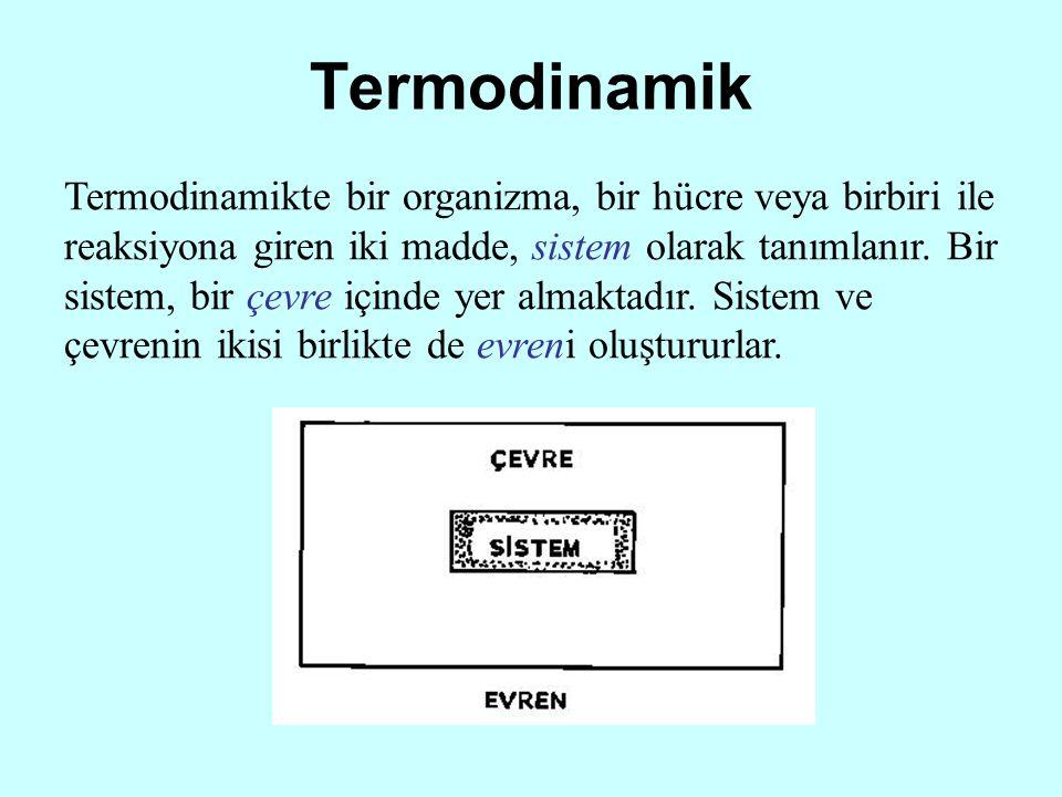 Termodinamikte bir organizma, bir hücre veya birbiri ile reaksiyona giren iki madde, sistem olarak tanımlanır. Bir sistem, bir çevre içinde yer almakt