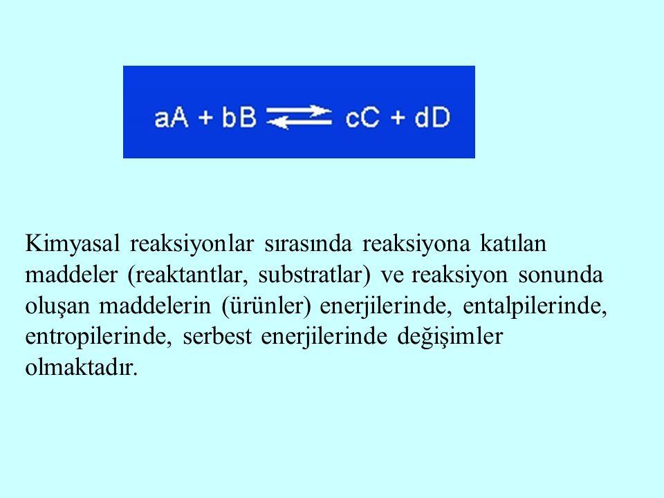 Kimyasal reaksiyonlar sırasında reaksiyona katılan maddeler (reaktantlar, substratlar) ve reaksiyon sonunda oluşan maddelerin (ürünler) enerjilerinde,