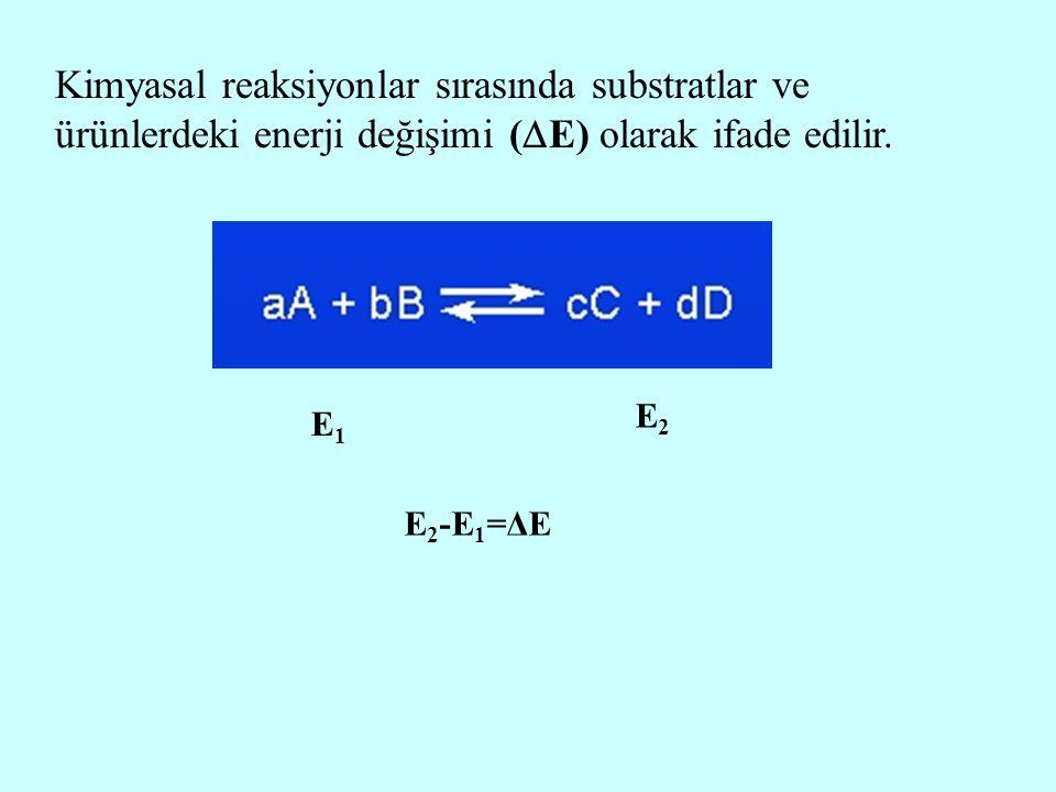 Kimyasal reaksiyonlar sırasında substratlar ve ürünlerdeki enerji değişimi (  E) olarak ifade edilir. E1E1 E2E2 E 2 -E 1 =ΔE
