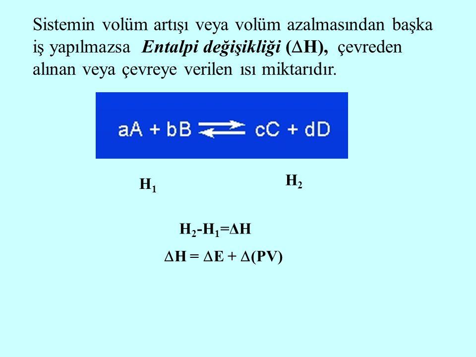 Sistemin volüm artışı veya volüm azalmasından başka iş yapılmazsa Entalpi değişikliği (  H), çevreden alınan veya çevreye verilen ısı miktarıdır.  H
