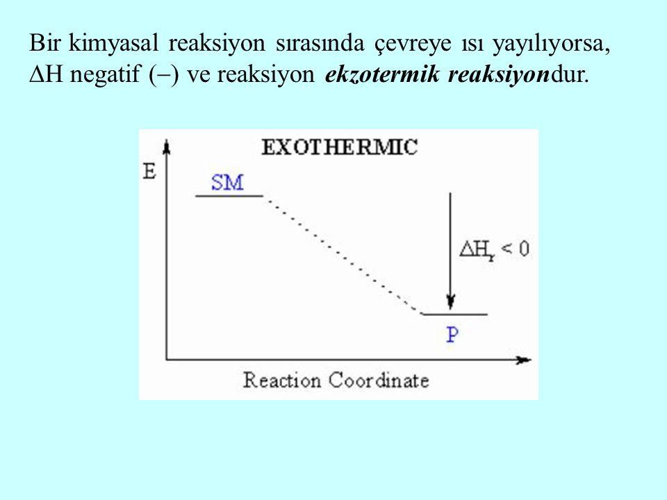 Bir kimyasal reaksiyon sırasında çevreye ısı yayılıyorsa,  H negatif (  ) ve reaksiyon ekzotermik reaksiyondur.