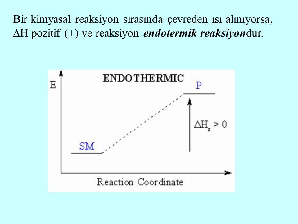 Bir kimyasal reaksiyon sırasında çevreden ısı alınıyorsa,  H pozitif (+) ve reaksiyon endotermik reaksiyondur.