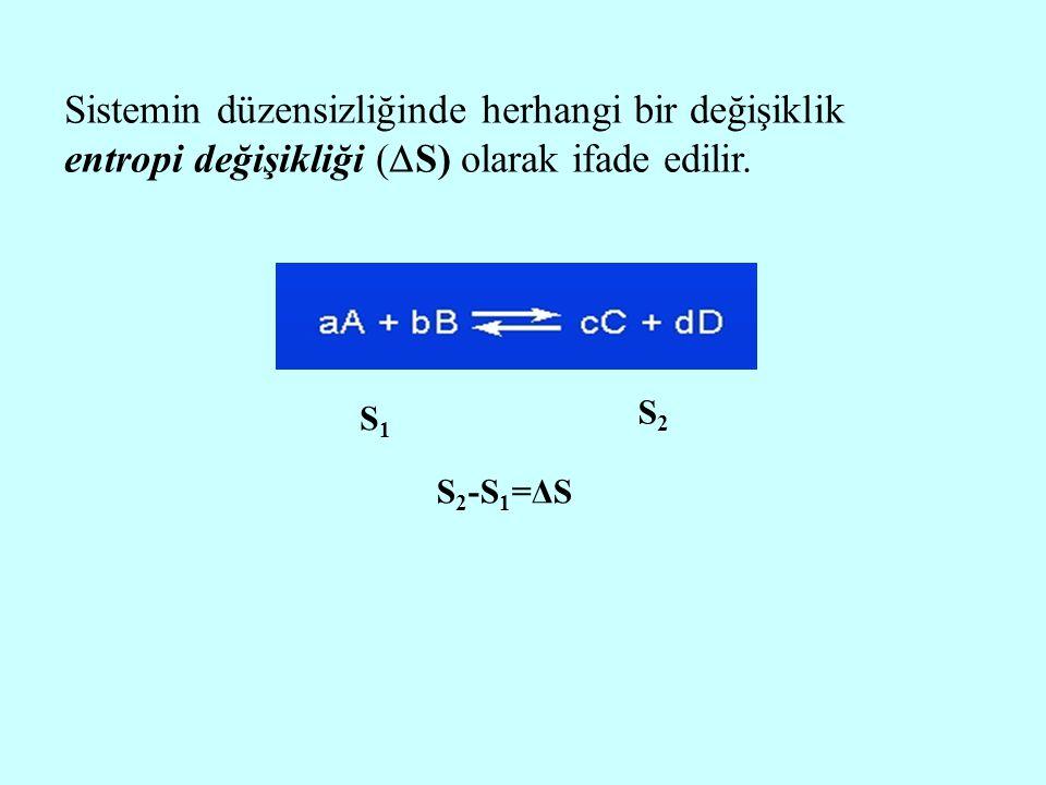 Sistemin düzensizliğinde herhangi bir değişiklik entropi değişikliği (  S) olarak ifade edilir. S1S1 S2S2 S 2 -S 1 =ΔS