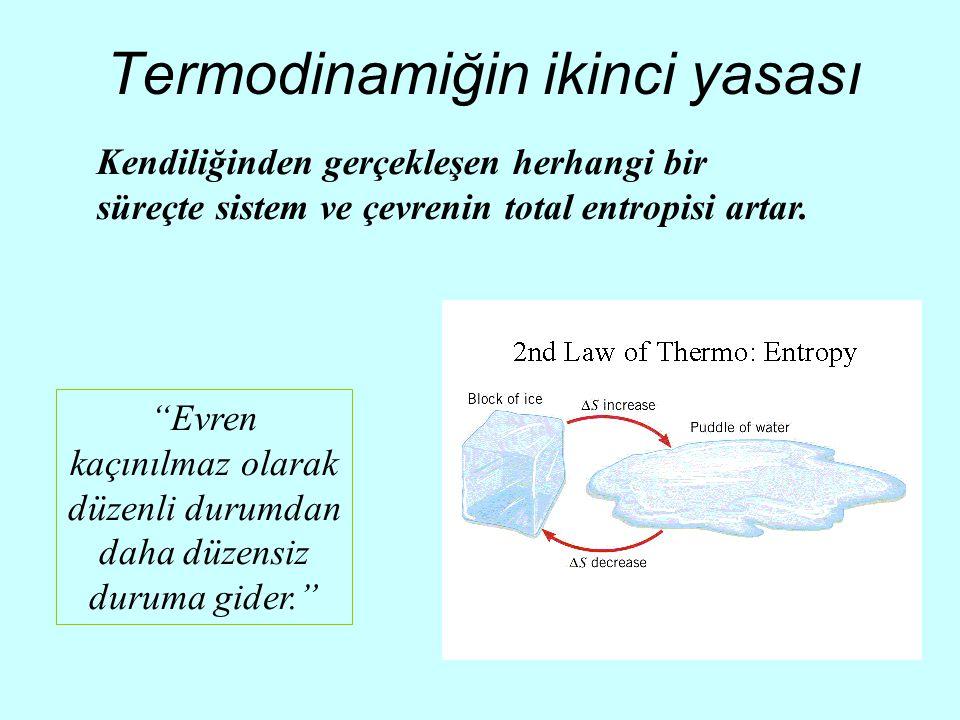 """Termodinamiğin ikinci yasası Kendiliğinden gerçekleşen herhangi bir süreçte sistem ve çevrenin total entropisi artar. """"Evren kaçınılmaz olarak düzenli"""