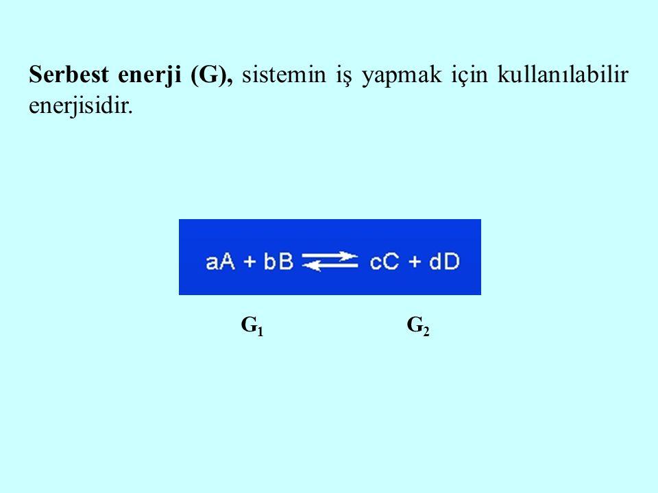 Serbest enerji (G), sistemin iş yapmak için kullanılabilir enerjisidir. G1G1 G2G2