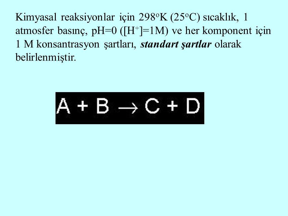 Kimyasal reaksiyonlar için 298 o K (25 o C) sıcaklık, 1 atmosfer basınç, pH=0 (  H +  =1M) ve her komponent için 1 M konsantrasyon şartları, standar