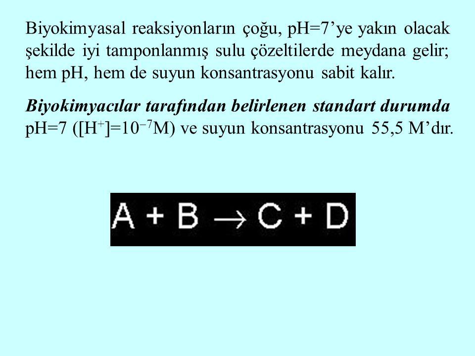 Biyokimyasal reaksiyonların çoğu, pH=7'ye yakın olacak şekilde iyi tamponlanmış sulu çözeltilerde meydana gelir; hem pH, hem de suyun konsantrasyonu s