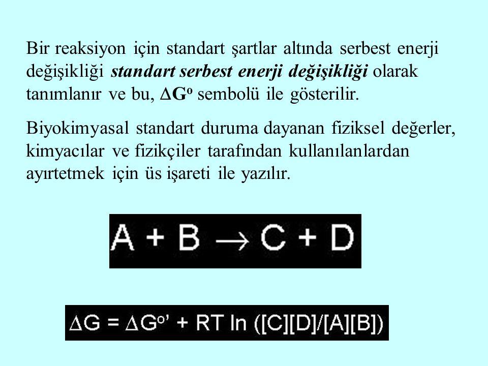 Bir reaksiyon için standart şartlar altında serbest enerji değişikliği standart serbest enerji değişikliği olarak tanımlanır ve bu,  G o sembolü ile