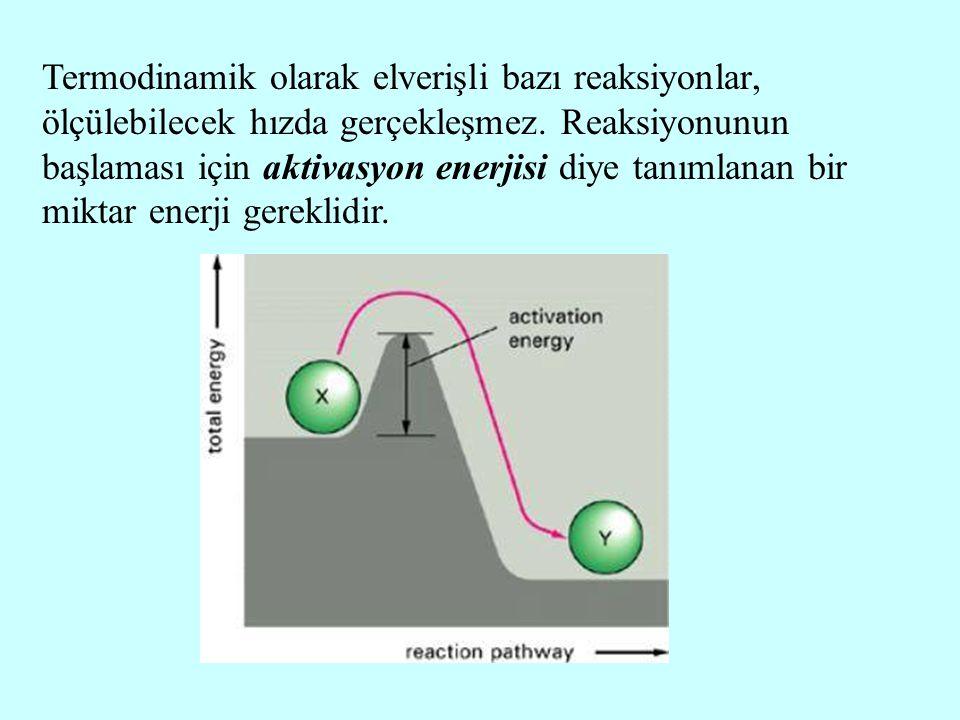 Termodinamik olarak elverişli bazı reaksiyonlar, ölçülebilecek hızda gerçekleşmez. Reaksiyonunun başlaması için aktivasyon enerjisi diye tanımlanan bi