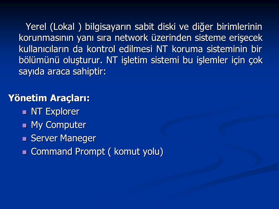 Yerel (Lokal ) bilgisayarın sabit diski ve diğer birimlerinin korunmasının yanı sıra network üzerinden sisteme erişecek kullanıcıların da kontrol edil