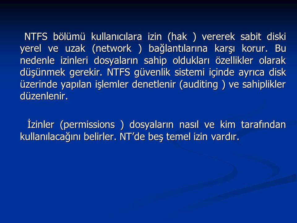 NTFS bölümü kullanıcılara izin (hak ) vererek sabit diski yerel ve uzak (network ) bağlantılarına karşı korur. Bu nedenle izinleri dosyaların sahip ol
