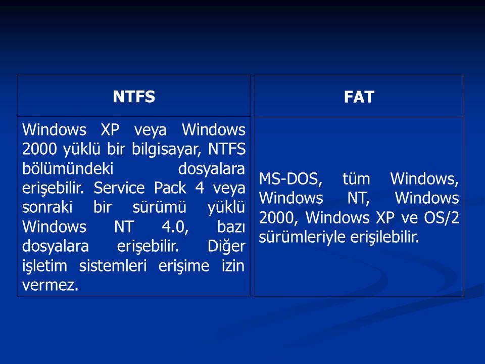 NTFS Windows XP veya Windows 2000 yüklü bir bilgisayar, NTFS bölümündeki dosyalara erişebilir. Service Pack 4 veya sonraki bir sürümü yüklü Windows NT
