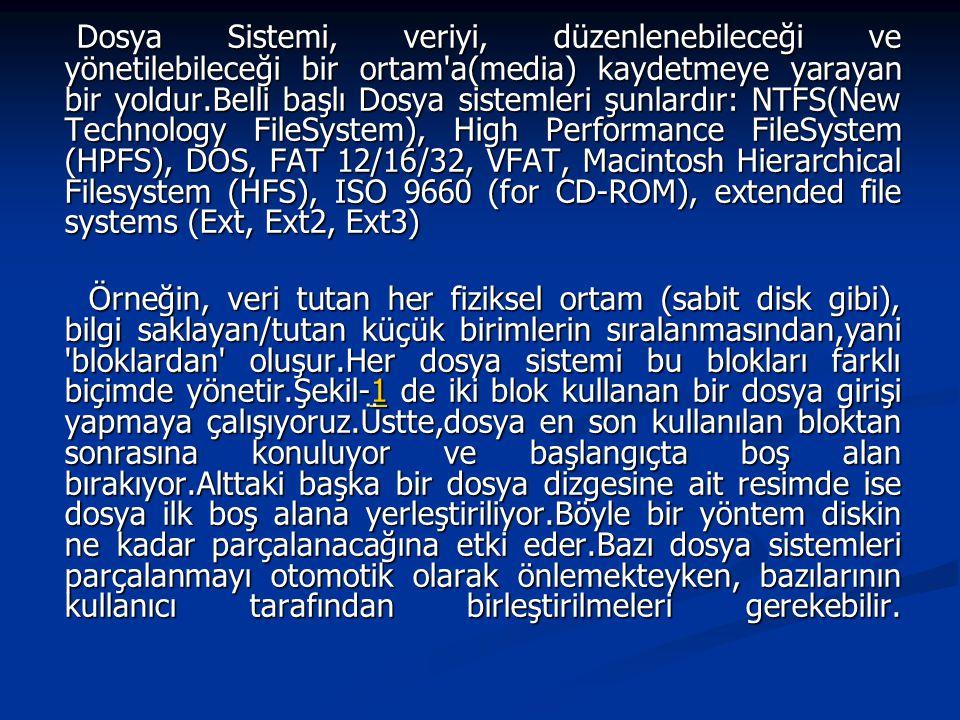 Kullandığımız dosya yönetim sistemlerine göz atarsak; Kullandığımız dosya yönetim sistemlerine göz atarsak; FAT16, FAT32, NTFS, Linux Ext2 ve Linux Swap dosya sistemlerini görebiliriz.