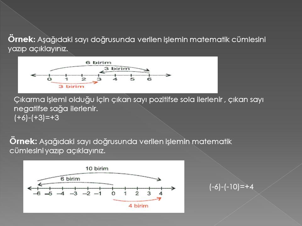Örnek : Aşağıdaki sayı doğrusunda verilen işlemin matematik cümlesini yazıp açıklayınız. Çıkarma işlemi olduğu için çıkan sayı pozitifse sola ilerleni