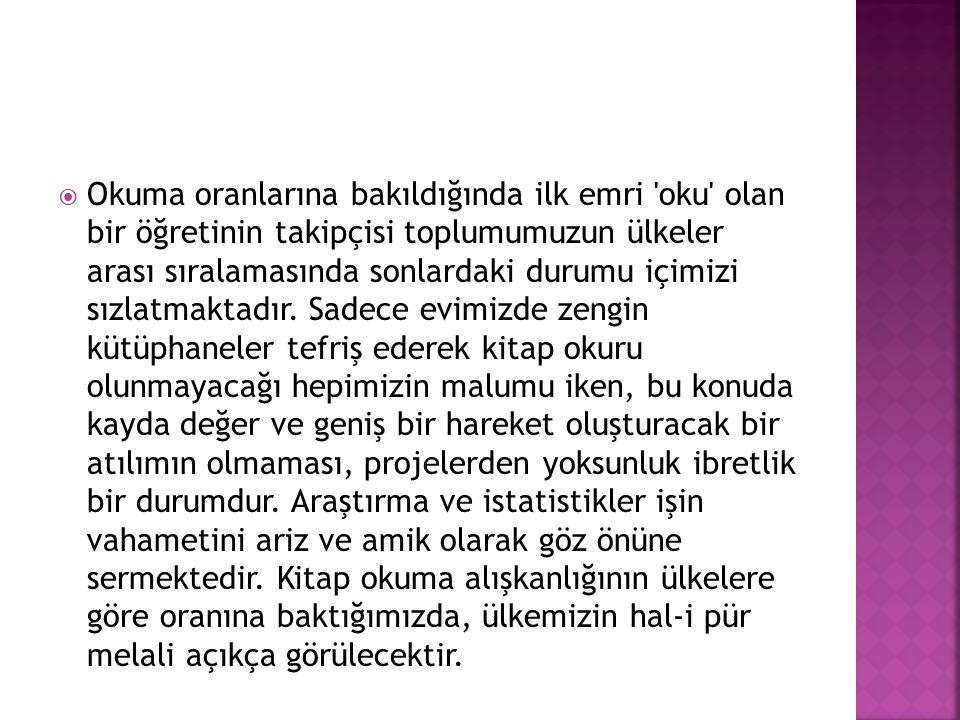  SAYISAL VERiLER  Türkiye de kitap okuma konusunda çoğu Afrika ülkelerinin gerisinde kalmış durumda.