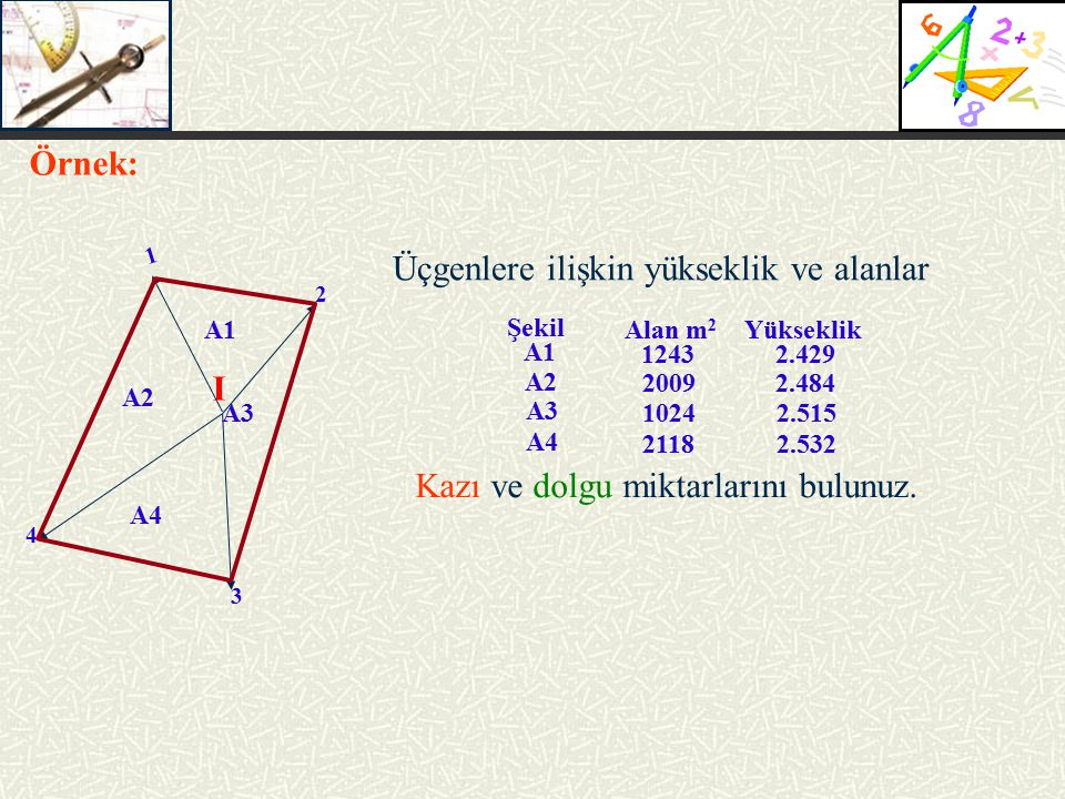 2 3 4 I 1 A1 A2 A4 A3 Üçgenlere ilişkin yükseklik ve alanlar Örnek: Kazı ve dolgu miktarlarını bulunuz. 2.429 2.484 2.532 2.515 Yükseklik 1243 2009 21