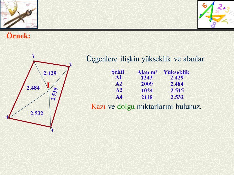 2 3 4 I 1 2.429 2.484 2.532 2.515 Üçgenlere ilişkin yükseklik ve alanlar Örnek: Kazı ve dolgu miktarlarını bulunuz.
